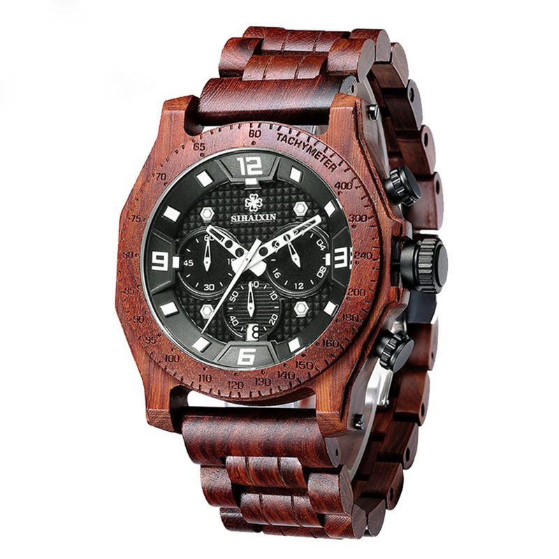 Luxury Business Multifunction Wrist Watch Mens Wooden Watch Waterproof