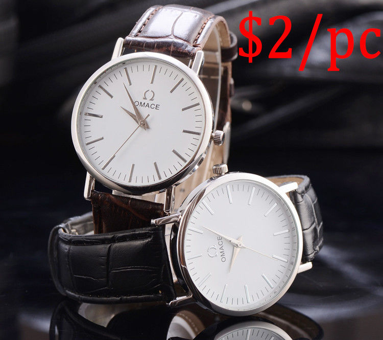 Silver Or Glod Alloy Quartz Watch / Mens Watches Brown Leather Strap